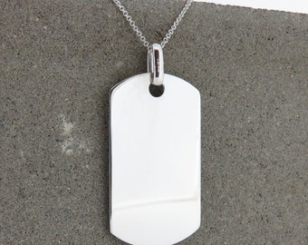 Personalised Silver Large Dog Tag Necklace - Free Engraving