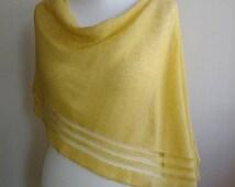 Yellow linen feeding cover poncho, knit nursing cover, baby feeding cover, baby shower gift for mom to be,