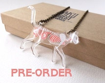 PRE-ORDER: Skeleton X-Ray Cat on Clear Acrylic Necklace (estimated shipping end of 1st week of September)