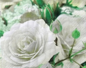 Set of 2 pcs 3-ply ''White roses'' paper napkins for Decoupage or collectibles 33x33cm, Floral napkins