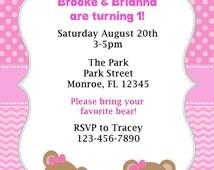 DIY - Teddy Bear's Picnic Pink/TwinsSiblings/Girls Invitations