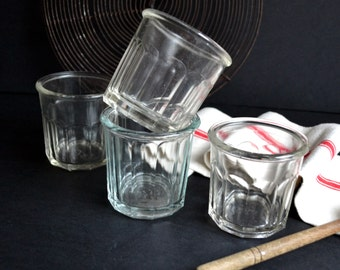 4 Assorted Vintage French Kitchen Glass Preserving Jam Jelly Jars From France