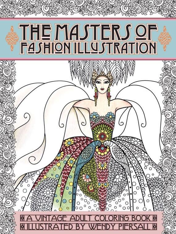 Adult Coloring Books Vintage Series: The Masters of Fashion Illustration - Signed Copy w/ Bonus PDF