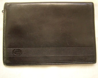 Vintage authentic wallet black leather 1960