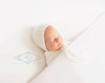 White Fuzzy Newborn Bonnet, Knit Newborn Hat, Knit Bonnet, Newborn Bonnet, Neutral Bonnet, Photo Prop Alpaca 8 COLORS