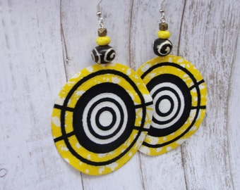 African Earrings- Ankara Earrings -African Jewelry- Ethnic Earrings- Statement Earrings- Big Earrings- Tribal Earrings- Afrocentric Jewelry