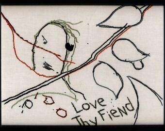 "Captain Ahab, Original Framed Embroidery, ""Love Thy Fiend"""