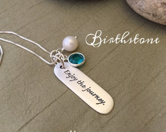 Enjoy The Journey Necklace - Gift for Graduation - Sterling Silver Birthstone High School Graduation Encoruaging 18th Birthday Gift for Her
