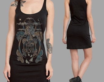 Psychedelic, Sacred Geometry, Tibetan Yogis Inspired Cotton Tunic Dress, Buddha, Long Tank top, Psy Fashion, Available in Black, Grey, Brown