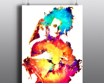 Edward Scissorhands - Johnny Depp and Winona Ryder, Tim Burton Movie, Mixed Media Art Print, Watercolor Print, Poster No167