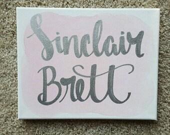 Custom Name Canvas - Nursery Decor - Baby Shower Gift - New Mom Gift- Baby Name Canvas - Baby Boy Decor - Baby Girl Decor - Customizable Art