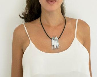 Wrap Leather Necklace, Leather Pendant Necklace, Statement Necklace, Black Leather Necklace, Stylish Necklace, Evening Necklace, Charm.