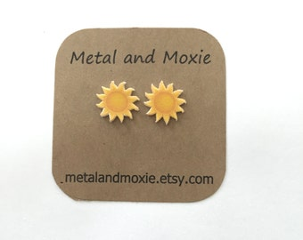Sunshine Stud Earrings,  Bright Yellow Sun, Sunny Day, Under 10 Dollars, Jewelry Gift