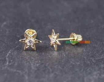 Screw Back Earrings / Star Polygon 14k Gold Stud Earrings / Geometry Earrings / Six Pointed Star / Baby Earrings / Girls / Womens Earrings