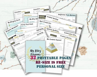 Blog planner printable kit media post blogging journal layout social media marketing blogger from Elegancify _ Personal Size/ Resize is FREE