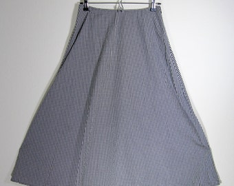 90s Vintage Lizsport black and white gingham A-line midi skirt size 6