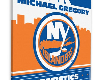 Islanders baby etsy new york islanders personalized birth announcement on canvas baby gift nursery art negle Images