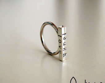 live laugh love ring custom names silver