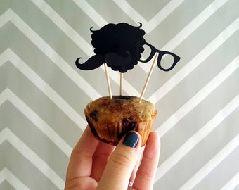 Hipster Beard, Mustache, & Glasses Food Flags