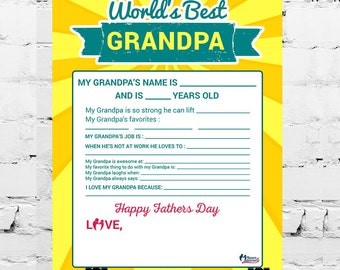 SALE: Worlds Best Granda Printable- All About My Grandpa- Fathers Day Printable- Fathers Day Gift for Grandpa- Grandpa Gift printable