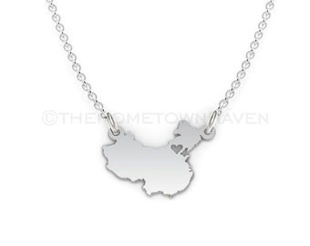 China Necklace - China map necklace, China pendant, I heart China necklace