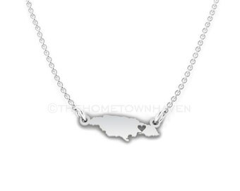 Jamaica Necklace - Jamaica charm necklace, Jamaica map necklace, I heart Jamaica necklace