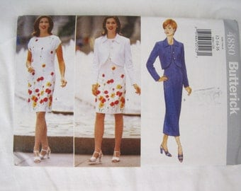 Misses Jacket and Dress Sewing Pattern – Butterick #4880 – Size 12, 14, 16 - UNCUT