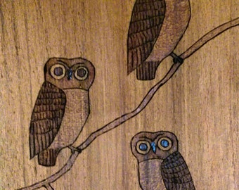 Owls Carved on Wood Signed by Artist 1960s