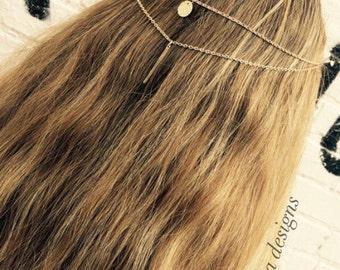 Minimalist Hair Jewelry,  Gold Hair Chain Accessory, Tribal Hair Chain, Gold Chain Head Piece, Clip In Hair Chain