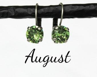 August Birthstone Drop Earrings - 8mm Peridot Green Swarovski Crystal Earrings