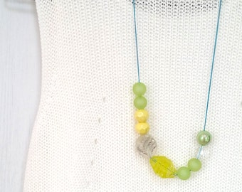 Amusing Green Yellow Beaded Long Chain Necklace (Free Shipping Worldwide)
