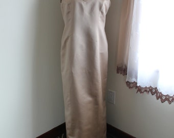 Champagne Silk Satin Evening Gown by Seta High Fashion, 60s Silk Dress  Pearl Sequin Flowers Sleeveless