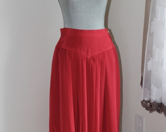 80s Red Skirt by Liz Claiborne, Size 12 Lined Pleated Full Side Zipper