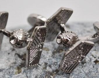 Star wars Tie Fighter Cufflinks in antiqued white metal finish