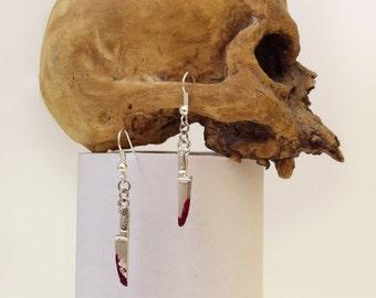 Bloody Knife Earring Gothic Horror Halloween Jewelry