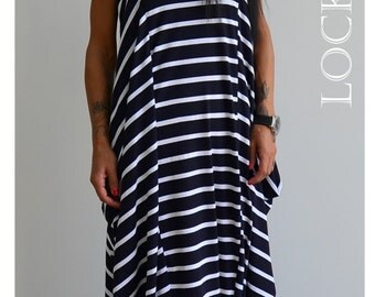Loose dress / Long soft dress /Striped woman dress / Oversize casual dress