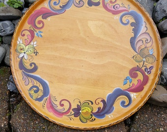 Ethel Kvalheim Rosemaling 16 Inch Platter With Signature