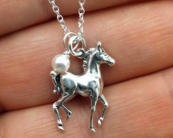Pony necklace - sterling silver horse necklace - colt pendant - horse jewelry - silver my little pony necklace - horse rider - girls jewelry