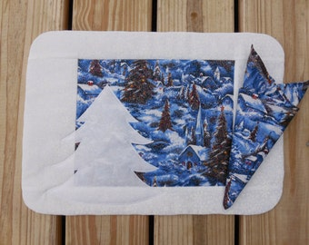 Village Christmas tree placemat and napkin set of 6