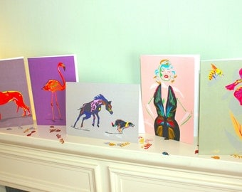 Quirky Neon Greetings Card Pack (5)