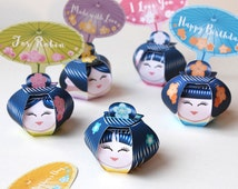 Kokeshi party gift boxes (Printable) - Geishas, Kokeshi japanese dolls - party centerpiece, set of 5 cute favor boxes DIY - instant download