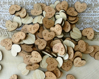 "100 Tiny ""I Do"" Hearts ~ Wood Confetti, Engraved Love Hearts, Rustic Wedding Decor, Table Decorations, Tiny Wooden Hearts, I Do Wood Hearts"
