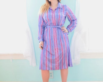 Vintage 1980s In a Carol Pink Blue and Purple Striped Day Dress Novelty Deadstock NOS NWT Tunic XLarge XL XXLarge xxL Plus Size 18 20 1x 2x