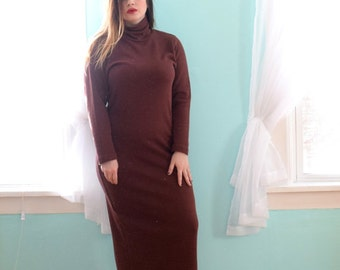 Vintage 1990s Weekenders Brown Turtleneck Sweater Dress Maxi Full Length Stretchy  Large L XLarge XL XXLarge XXL Plus Size 12 14 16 18 20