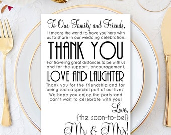 Wedding Thank You Letter Printable, Wedding Printable, Printable Wedding Thank You, Welcome Letter, Instant Download, Reception