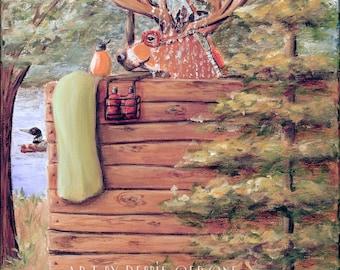 Bathroom Wall Art, Rustic Cabin Bathroom, Deer, Lake Bathroom Wall Art, Father's Day Gift Idea, Mountain Cabin Bathroom Art Print