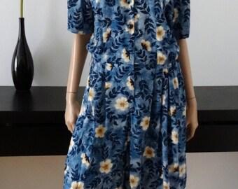 combishort 80's vintage bleu/fleuri taille 42 / uk 14 / us 10