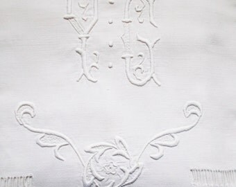 Large Antique French Linen Sheet Monogram Hand Embroidered