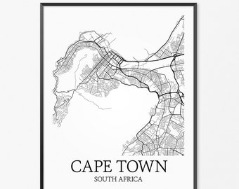 Cape Town Map Art Print, Cape Town Poster Map of Cape Town Decor, Cape Town City Map Art, Cape Town Gift, Cape Town South Africa Art Poster