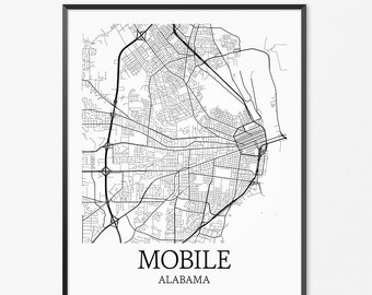 Mobile Map Art Print, Mobile Poster Map of Mobile Decor, Mobile City Map Art, Mobile Gift, Mobile Alabama Art Poster